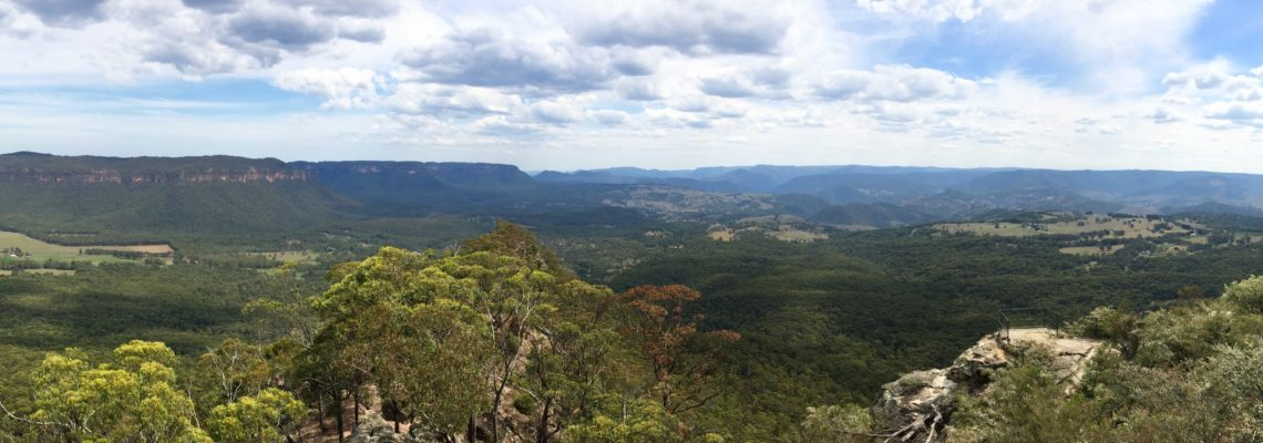Panoramic view of the Megalong Valley from Hargraves Lookout in the Blue Mountains NSW January 2017