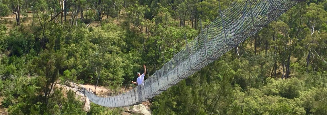 Lee Burrows from This Life List high up on Bowtells Swing Bridge in the megalong valley blue mountains NSW January 2017