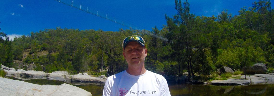 Lee Burrows under Bowtells Swing Bridge in the Megalong Valley, Blue Mountains NSW January 2017