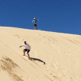Lee trying sand boarding