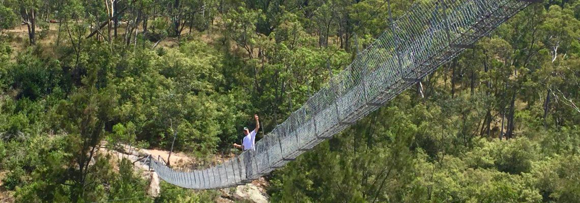 Walking on a swing bridge