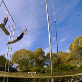 Trapeze performer Lee Burrows
